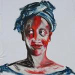 « Portrait à Madina » acrylique sur tissu, 90x70 cm
