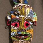 « Masque Toma » papier, tissu, 50 cm