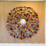 « Soleil d'Afrique » aluminium recyclé, tissu, 170 x 170 cm